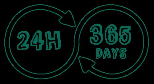 24 時間 365 日